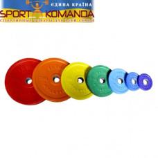 Диск обрезиненный, цветной, 1,25 кг (50 мм), ABS InterAtletika