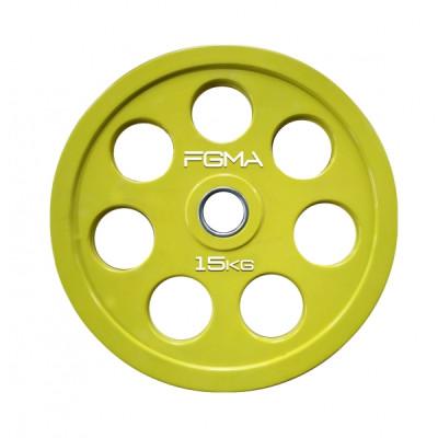 Диск (блин) для штанги обрезиненный REVOLVER FGMA Color 15 кг ТК 005