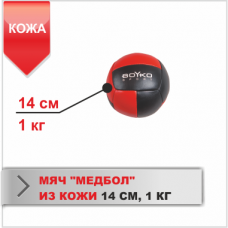 Мяч медбол 1кг кожа (14см)